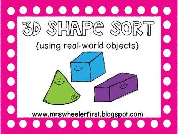 First Grade Math: 3D Shape Sort