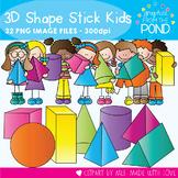 3D Shape Stick Kids - Clipart for Teaching