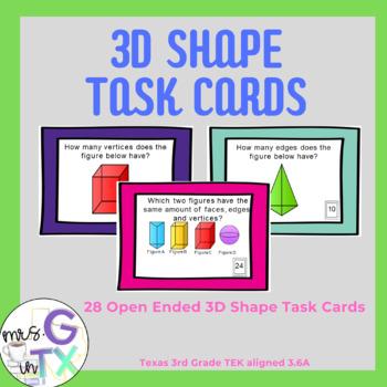 3D Shape Test Prep Task Cards