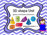 3D Shape Unit - games, posters and worksheets