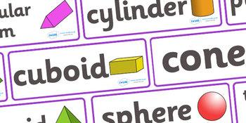 3D Shape Word Cards