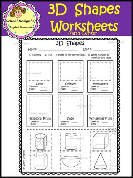 3D Shape  Worksheets - Activities (School Designhcf)