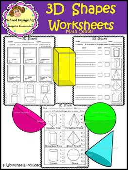 3D Shape  Worksheets - Activities (School Designhcf)