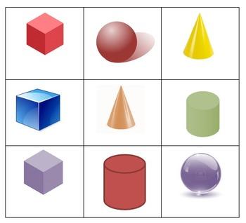 3D Shape and Color Bingo