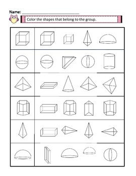 3D Shapes Worksheets with Answer Keys