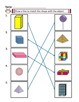 3D Shapes Activities with Answer Keys, 3D Shape Matching