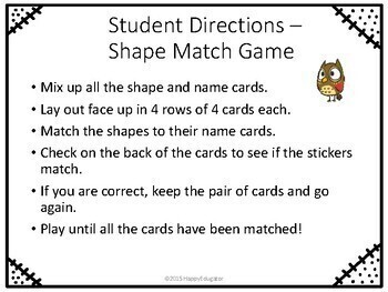 3D Shapes Memory Game