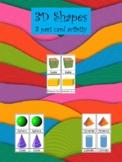 3D Shapes, 3 part card activity