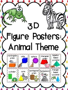 3D Shapes (3D Figure) Posters: Animal Theme