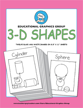 """3D Shapes 8.5"""" x 11"""" for Kids to Color"""