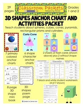 3D Shapes Anchor Chart and Activities Packet (CCSS)