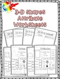 3D Shapes Attribute Worksheets