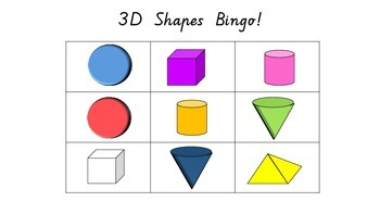 3D Shapes Bingo