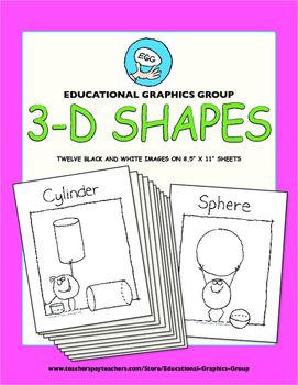 """3D Shapes Black/White 8.5"""" x 11"""""""