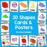 3D Shape Cards & Posters for Math Word Wall: 1st & 2nd Grade Geometry Flashcards