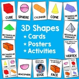 3D Shape Posters and Math Word Wall Cards! Geometry Flashcards and Centers!