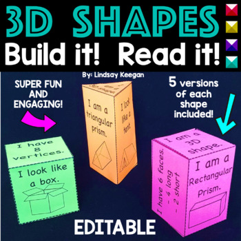 3D Shapes - Build the Shape, Read the Shape! EDITABLE!