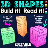 3D Shapes - Build the Shape, Read the Shape! EDITABLE!