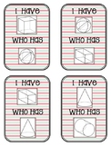 "3D Shapes: Cards for Game ""I have..., who has..."""