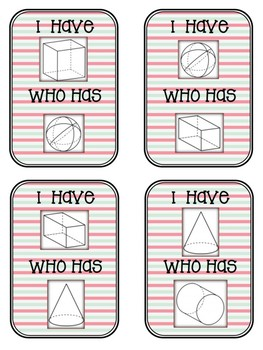 """3D Shapes: Cards for Game """"I have..., who has..."""""""