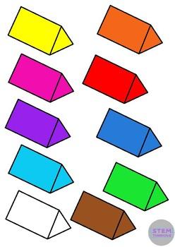 3D Shapes Clip Art- 7 Shapes in 10 Colors