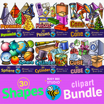 3D Shapes Clip Art Bundle