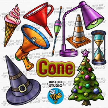 3D Shapes Clip Art: Cones