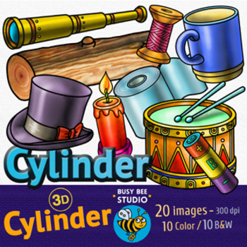 3D Shapes Clip Art: Cylinders