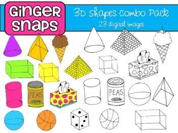 3D Shapes Clip Art Set