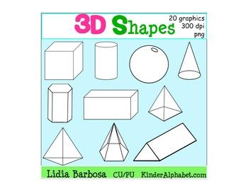 3D Shapes {Clip Art for Teachers}