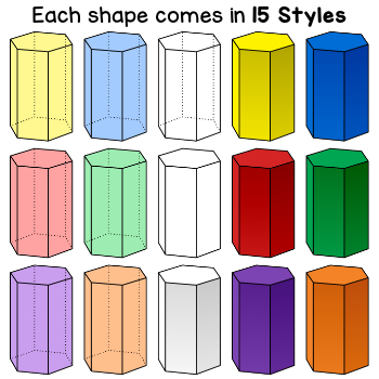 3D Shapes Clip Art | Geometric Solids