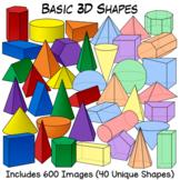 3D Shapes Clip Art | Geometric Solids