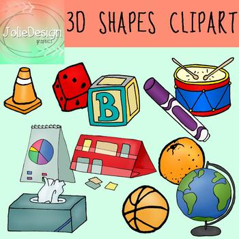 3D Shapes Clipart 22 Piece Set - Color and Black and White