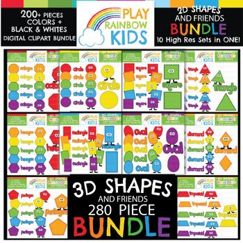 3D Shapes Clipart Bundle