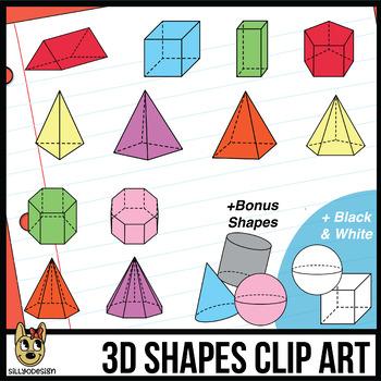 3D Shapes Clipart: Transparent Prisms & Pyramids, Color and Black & White