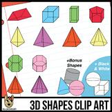 3D Shapes Clipart: Transparent Prisms & Pyramids, Color an