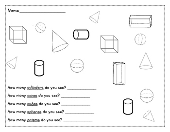 3D Shapes Color and Count