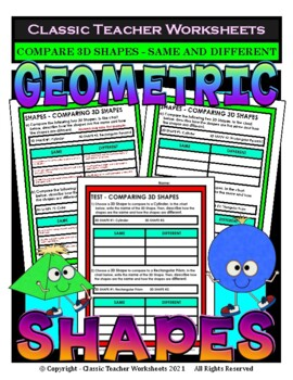 3D Shapes - Compare 3D Shapes - Same and Different - Grades 4-5 (4th-5th Grade)