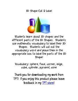 3D Shapes Cut and Label, Kindergarten