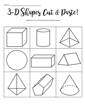 3D Shapes (Cut and Paste) - Triangular Prism,Rectangular Prism, Cube - Grade 1-4