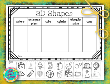 3D Shapes Cut and Paste Activity