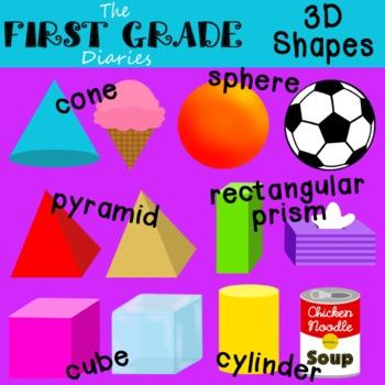 3D Shapes {Digital Clip Art} Cube Cone Cylinder Sphere Pyramid Rectangular Prism