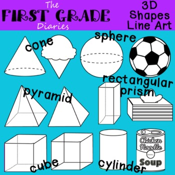 3D Shapes {Digital Line Art} Cube Cone Cylinder Sphere Pyramid Rectangular Prism