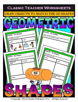 3D Shapes - Draw Objects to Match the 3D Shapes - Grades 2-3 (2nd-3rd Grade)