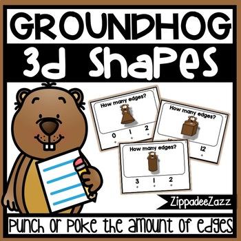 3D Shapes Edges Poke Cards Groundhog Theme