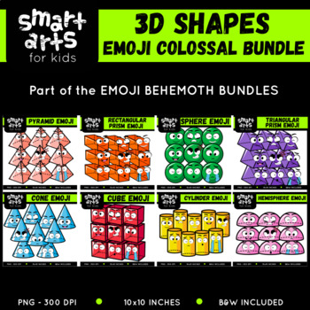 3D Shapes Emoji Clip Arts COLOSSAL Bundle