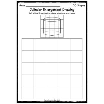 3D Shapes Enlargement Drawings With Grid