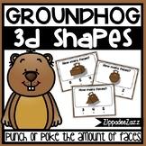 3D Shapes Faces Poke Cards Groundhog Theme