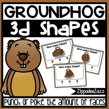 3D Shapes Faces Poke Cards Groundhog Theme