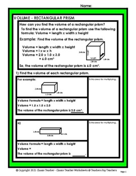 3D Shapes - Find the Volume of a Rectangular Prism - Grades 4-6 (4th-6th Grade)